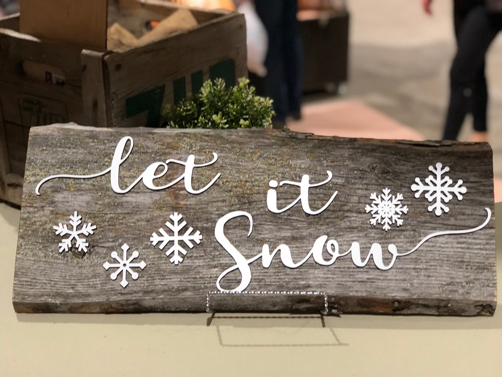 Let it Snow Authentic Barn Wood Sign 3D Cut Out Letters