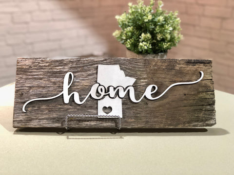 "home Manitoba with heart Authentic Barn Wood Sign 7-8"" x 15"" with 3D cut letters"