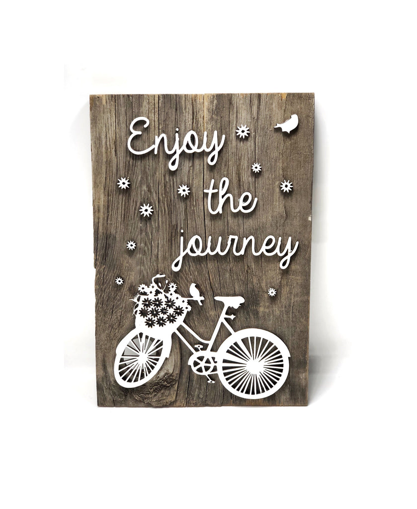 "Enjoy the journey with flowers Authentic Barn Wood Sign 8-9"" x 12"" with 3D cut letters"