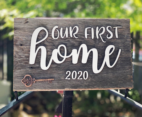 Our First Home 2020 key Authentic Barn Wood Sign with 3D cut letters