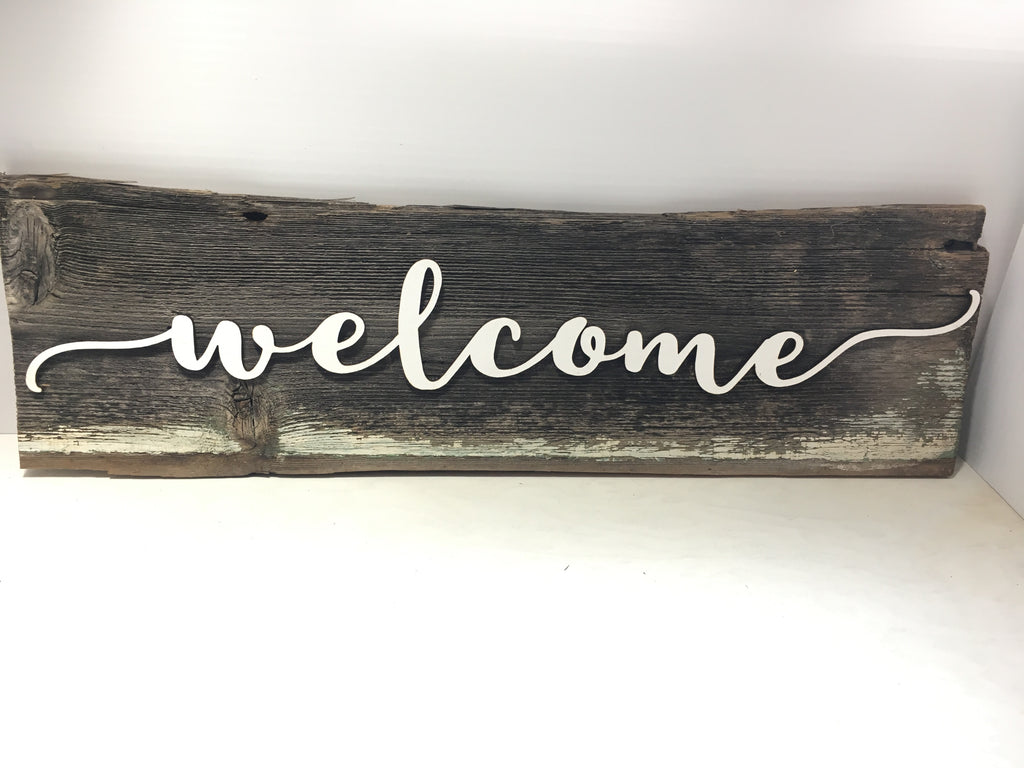 "Welcome Authentic Barn Wood Sign 5-6"" x 20"" with 3D cut letters"
