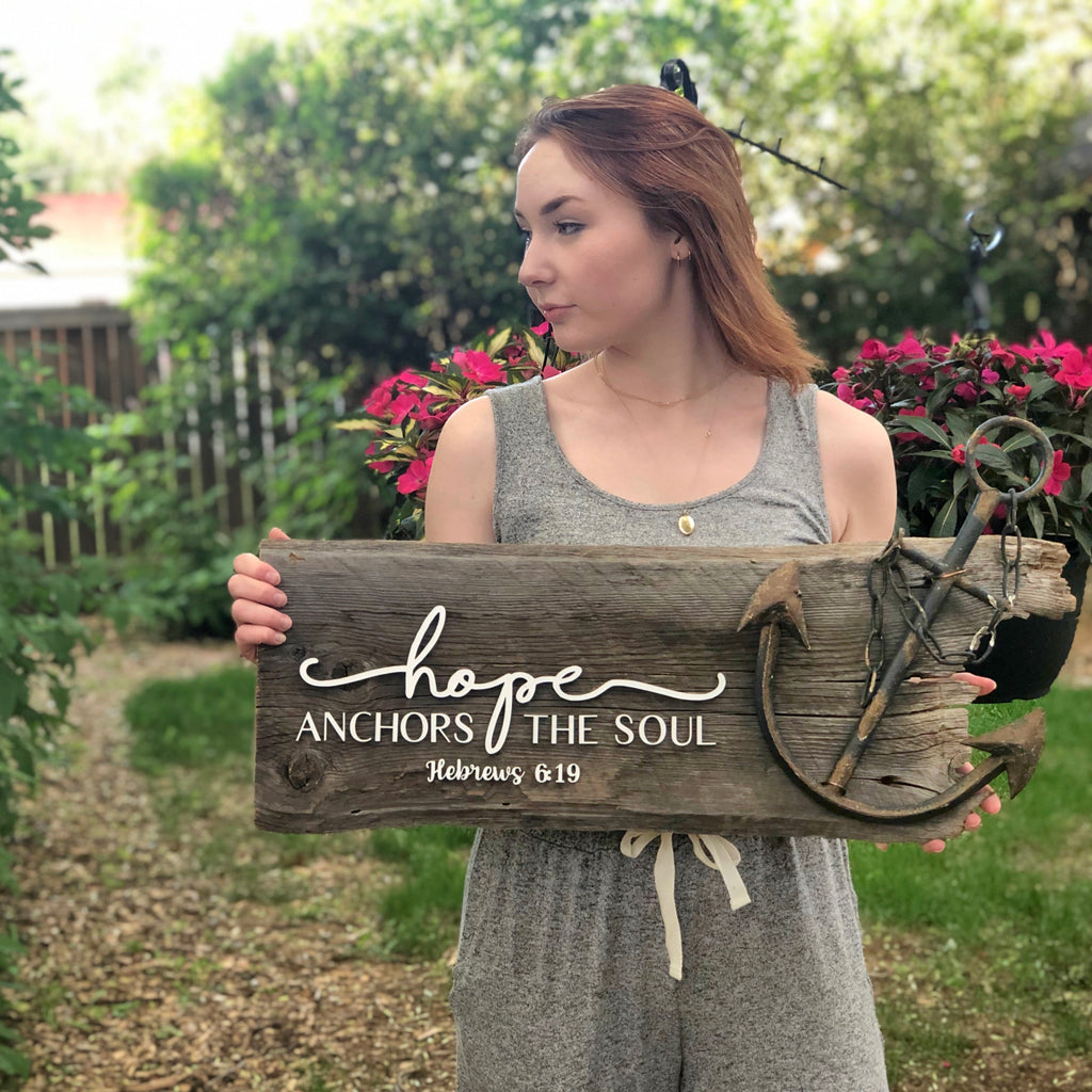 "hope anchors the soul Authentic Barn Wood Sign 8-9"" x 30"" with 3D cut letters"