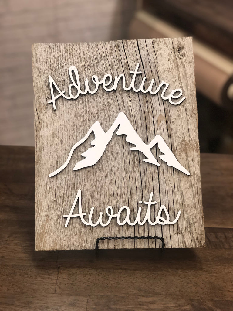 "Adventure Awaits with Mountains Authentic Barn Wood sign 8-9"" x 12"""