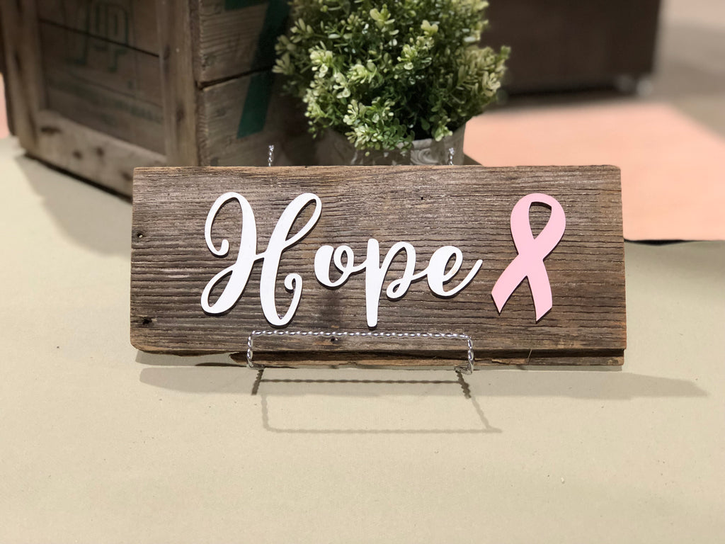 "Hope with Pink Ribbon Authentic Barn Wood Sign 5-6"" x 15"" with 3D cut letters"