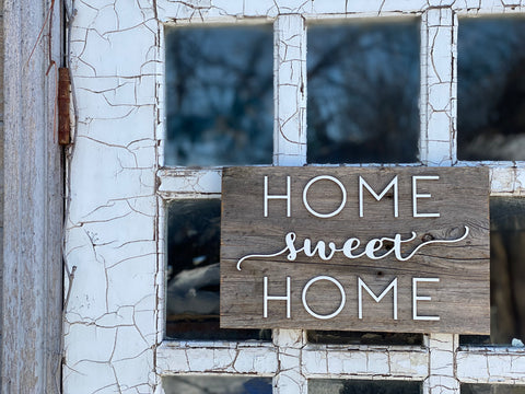 "Home sweet Home Barn Wood Sign 7"" x 12"" with 3D cut letters"