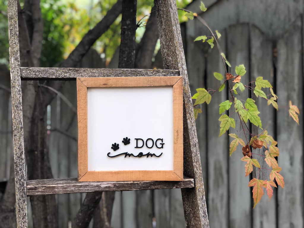 "Dog mom paw prints Hardwood Framed Sign 10"" x 10"""
