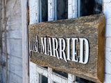 "Just Married Authentic Barn Wood Sign 7-8"" x 20"" with 3D cut letters"