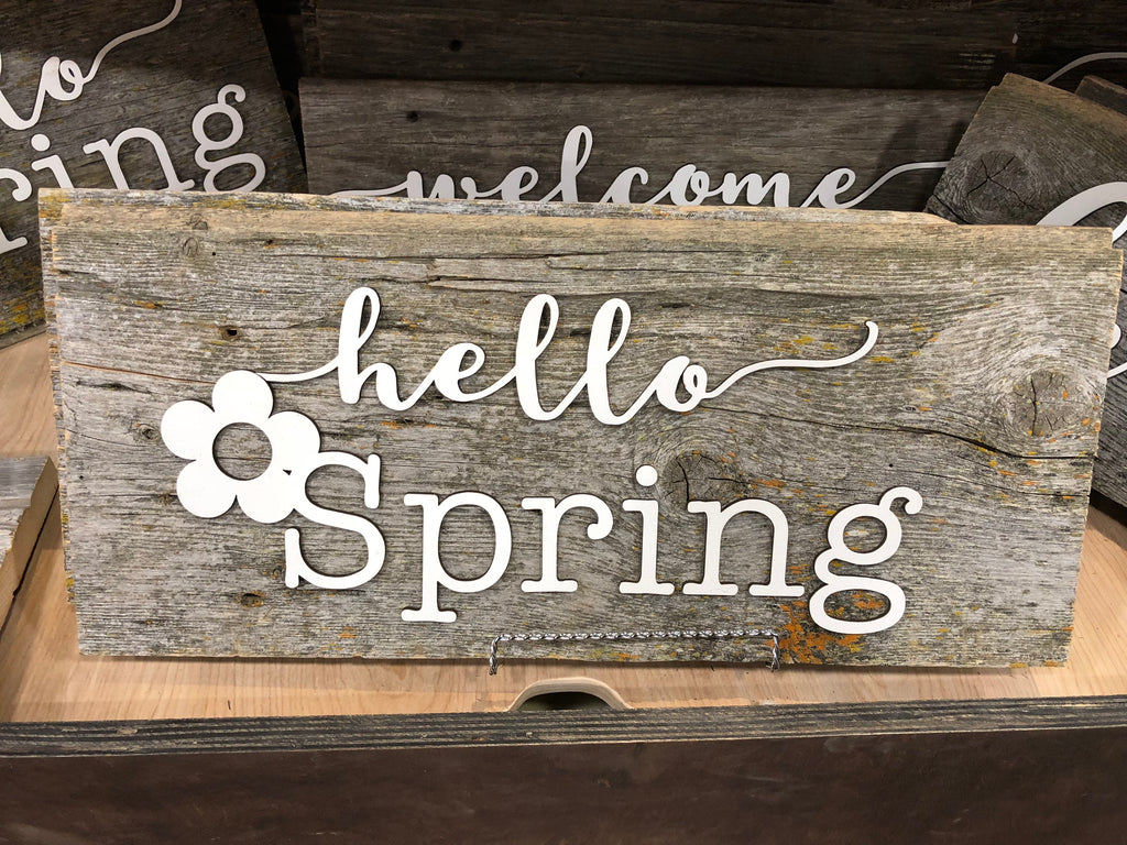 "Hello Spring Athentic Barn Wood Sign 8"" x 13"" with 3D cut letters"