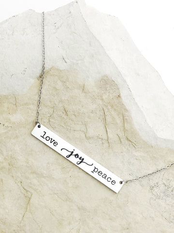 "* Custom Engraved Stainless Steel 1.75"" ( 4.5cm) Bar Necklace, 18"" Chain Optional Second Side engraved"