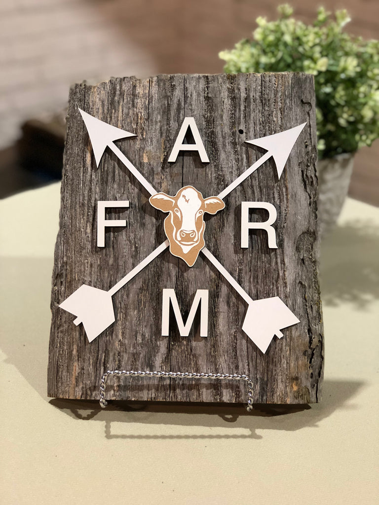 "FARM with Arrows // cow Authentic Barn Wood sign 8-9"" x 10"""