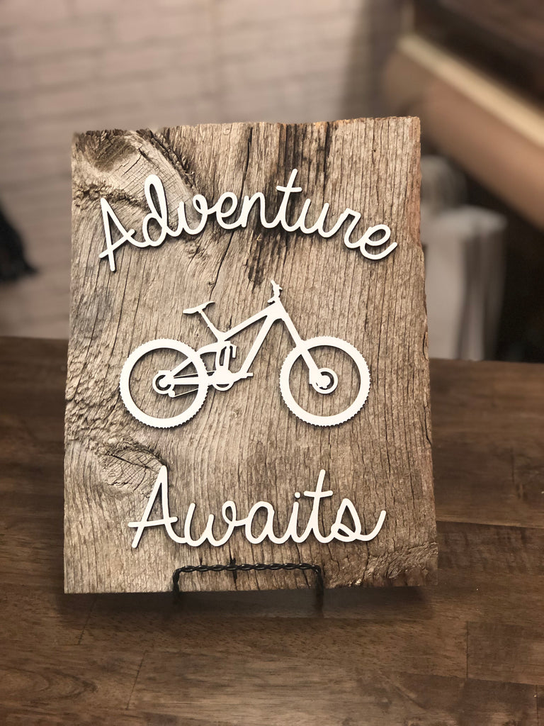 "Adventure Awaits with Bike Authentic Barn Wood sign 8-9"" x 12"""