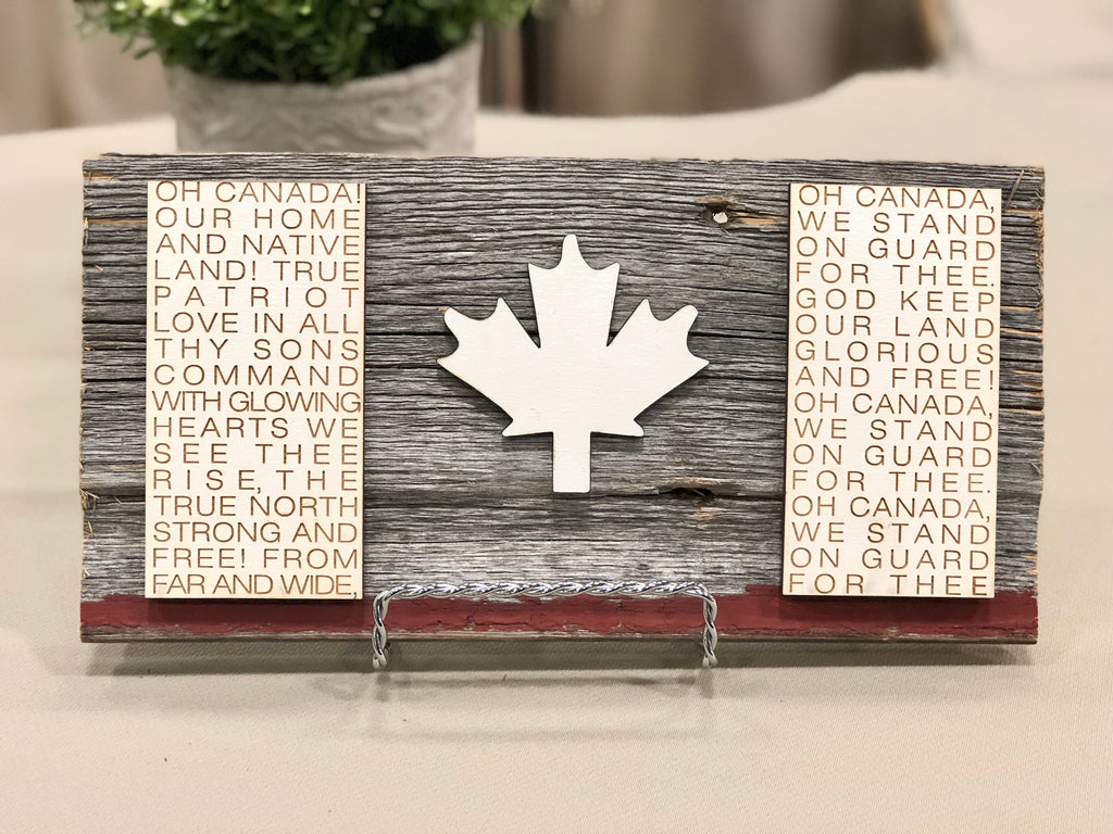 "Canadian Flag FRENCH Authentic Barn Wood Sign 5-6"" x 8"" with 3D cut letters"