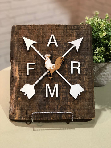 "Arrows FARM - with rooster - Authentic Barn Wood Sign 7-8"" x 18"" with 3D cut letters"