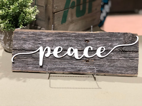 "Peace Authentic Barn Wood Sign 5-6"" x 15"" with 3D cut letters"