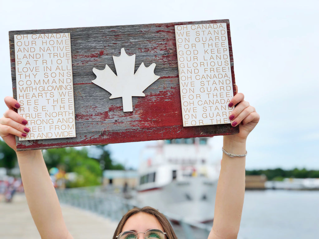 "Large Canadian Flag Authentic Barn Wood Sign 12"" x 20"" with 3D cut letters"
