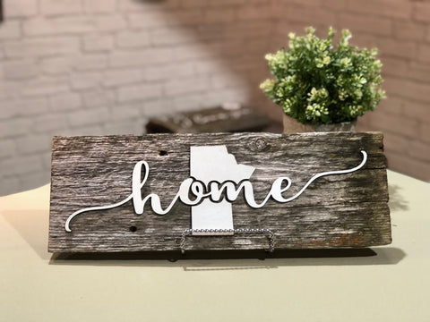 "home Manitoba Authentic Barn Wood Sign 7-8"" x 15"" with 3D cut letters"