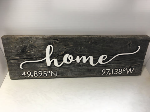 "Home - Winnipeg GPS Coordinates Barn wood Sign approx. 5-7"" x 15"""