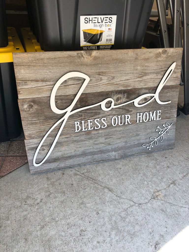 "God bless our home Authentic Barn Wood sign 16"" x 30"""