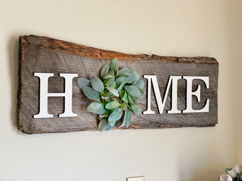 "HOME with Lambs Ear Authentic Barn Wood Sign 9"" x 30"""