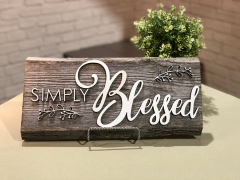 Simply Blessed Authentic Barn Wood Sign 3D Cut Out Letters