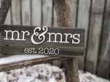 "Mr & Mrs Est. 2020 Sign 5-6"" x 15"" with 3D cut letters"