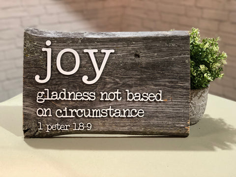 "Joy Definition Authentic Barn Wood Sign 10"" x 15"" with 3D cut letters"