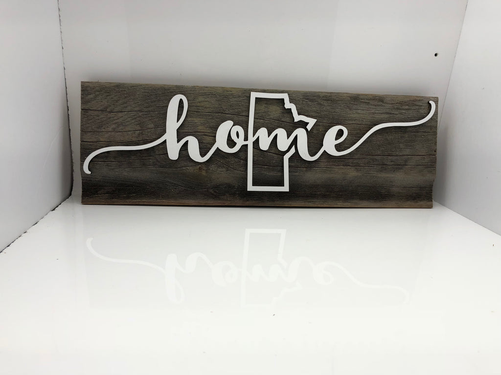 "home •Manitoba outline • Barn Wood Sign 7-8"" x 15"" with 3D cut letters"