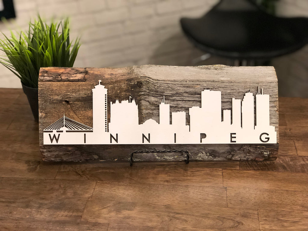 "Cityscape Skyline Winnipeg Authentic Barn Wood Sign 5-6"" x 15"" with 3D cut letters"