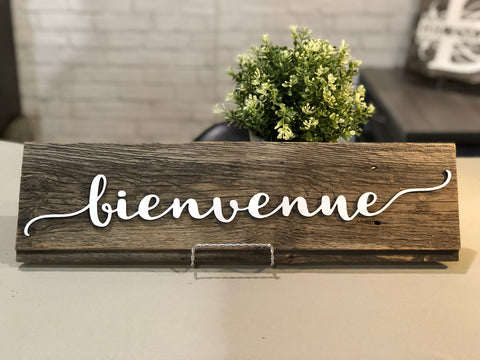 "bienvenue Authentic Barn Wood Sign 5-6"" x 20"" with 3D cut letters"