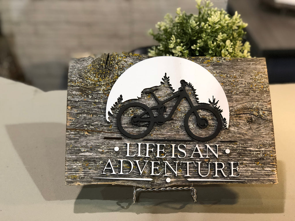 "Life is an Adventure Authentic Barn Wood sign 8-9"" x 12"""