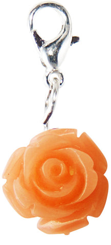 Peach Rose Floating Locket Dangle