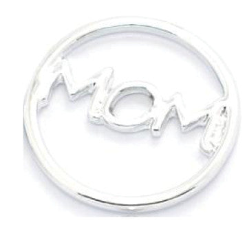 Mom Silver Window Plate for Floating Locket