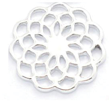 Silver Flower Window Plate for Floating Locket