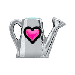 Silver Watering Can with Heart Floating Locket Charm