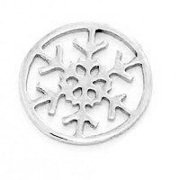 Silver Snowflake Window Plate for Floating Locket