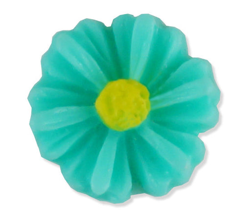 Resin Teal Daisy Floating Locket Charm