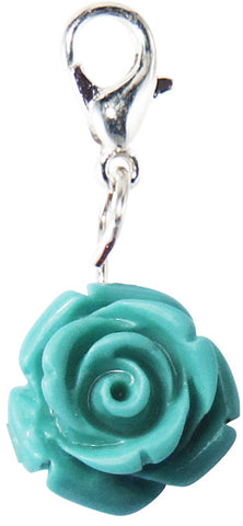 Teal Rose Floating Locket Dangle