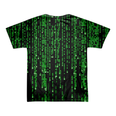 The Matrix Symbols and Code All Over T-shirt Back