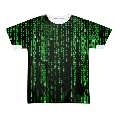 The Matrix Symbols and Code All Over T-shirt Front