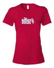 Girls #selfie hashtag Ladies Red T-shirt