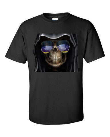 Reaper Skull Wearing Sunglasses T-shirt