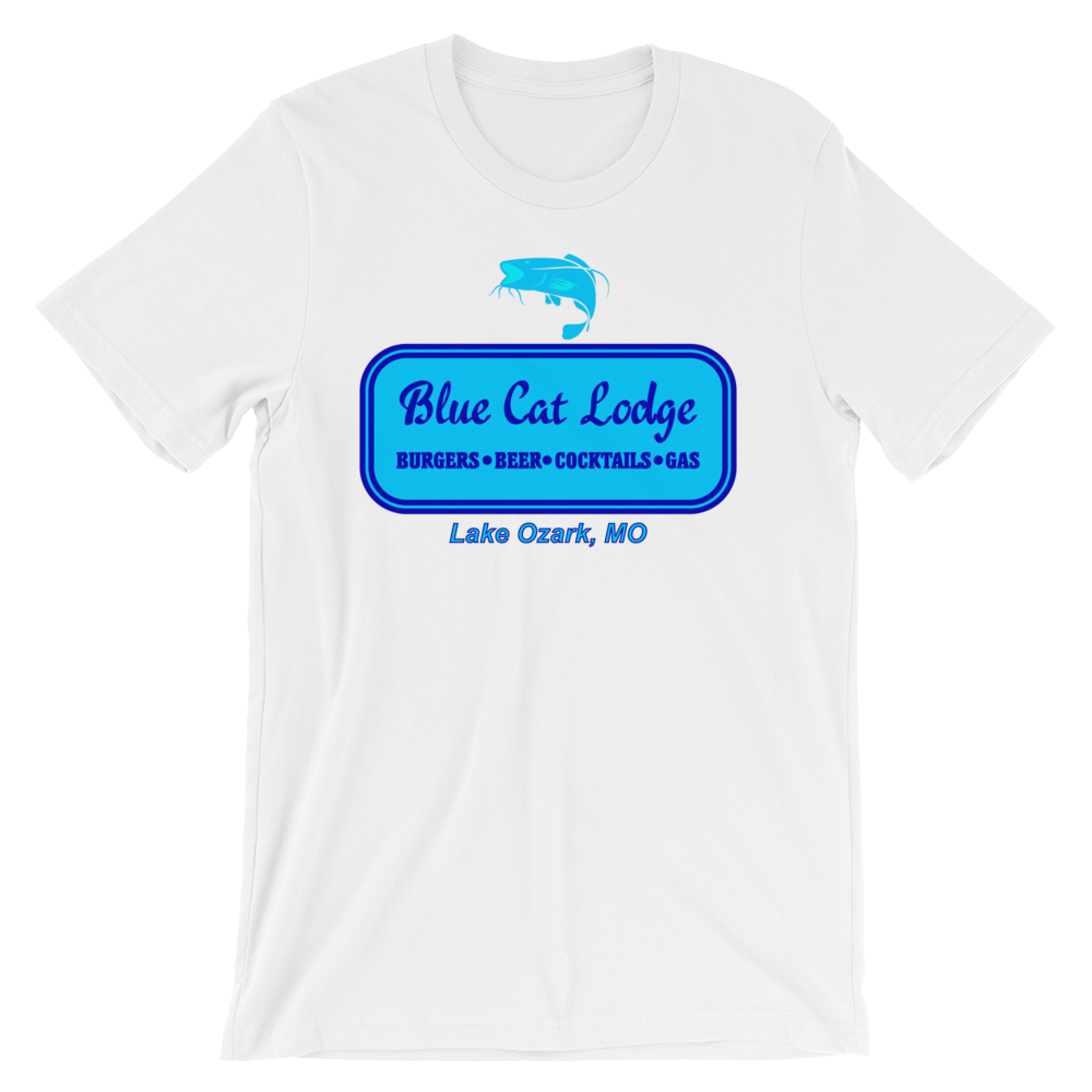 Blue Cat Lodge T-shirt -- White