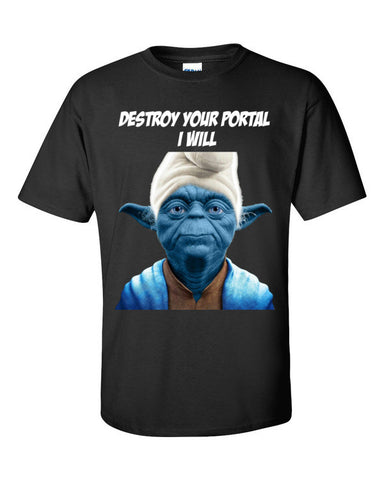 Yoda Smurf T-shirt for Ingress Resistance Agents -- Black
