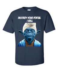 Yoda Smurf T-shirt for Ingress Resistance Agents -- Navy