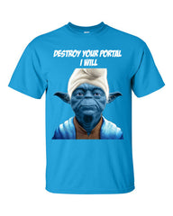 Yoda Smurf T-shirt for Ingress Resistance Agents -- Blue