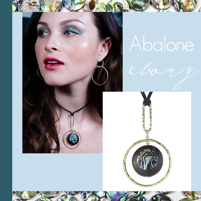 vlmjewelry.com | Abalone Ebony Oculus Necklace | Handmade in Los Angeles