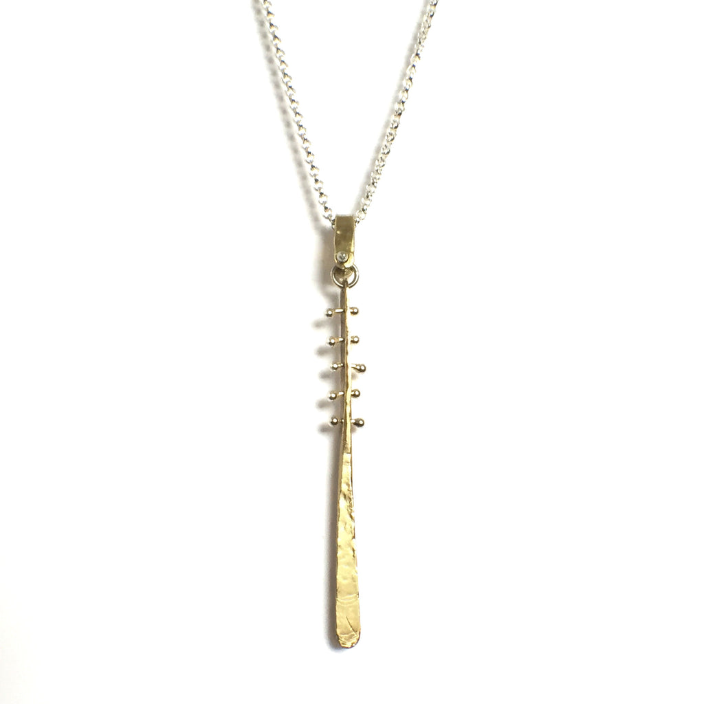 Sterling Silver VLM Jewelry Long Layering Baton Necklace Handmade in Los Angeles California