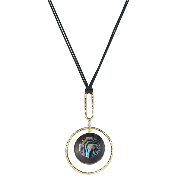 vlmjewelry.com | Gold Tone Oculus Necklace | Ebony Abalone Inlay | Handmade in Los Angeles