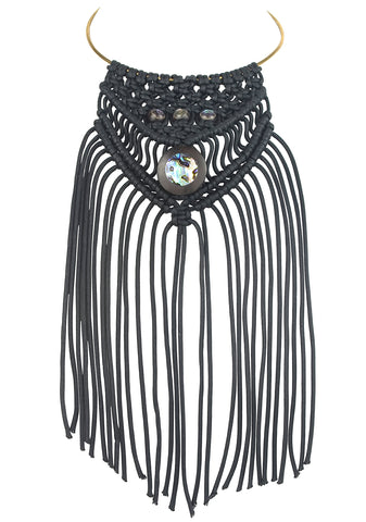 vlmjewelry.com | Macrame Fringe Necklace | Ebony Abalone Inlay | Handmade in Los Angeles