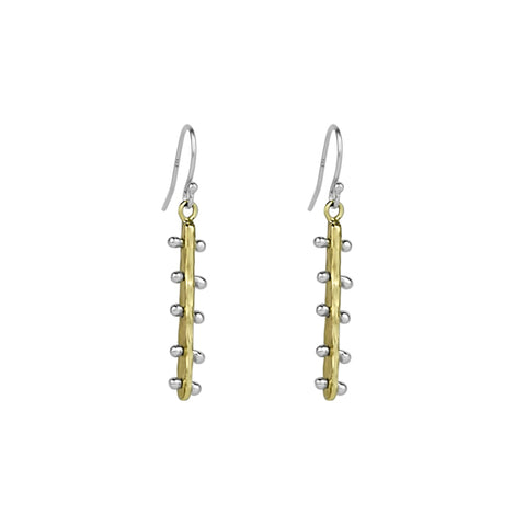 Bar Line Drop Earrings - Brass